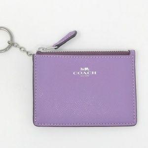 COACH Mini Card Skinny Keychain ID Wallet Iris NWT
